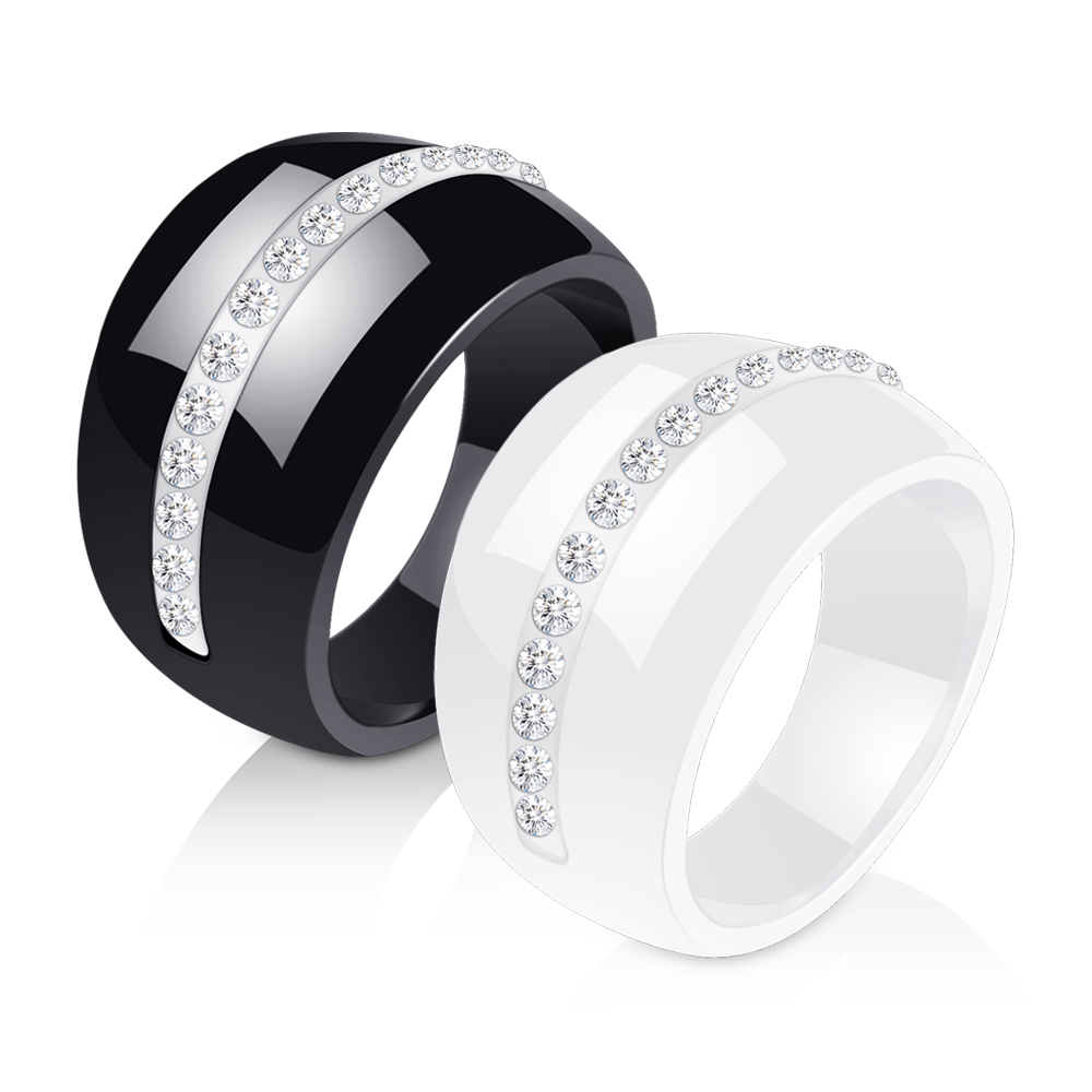 Luxury Romantic Clear Black And White Ceramic Ring Jewelry For Women Accessories Fashion Jewelry Ring With Bling Crystal 1