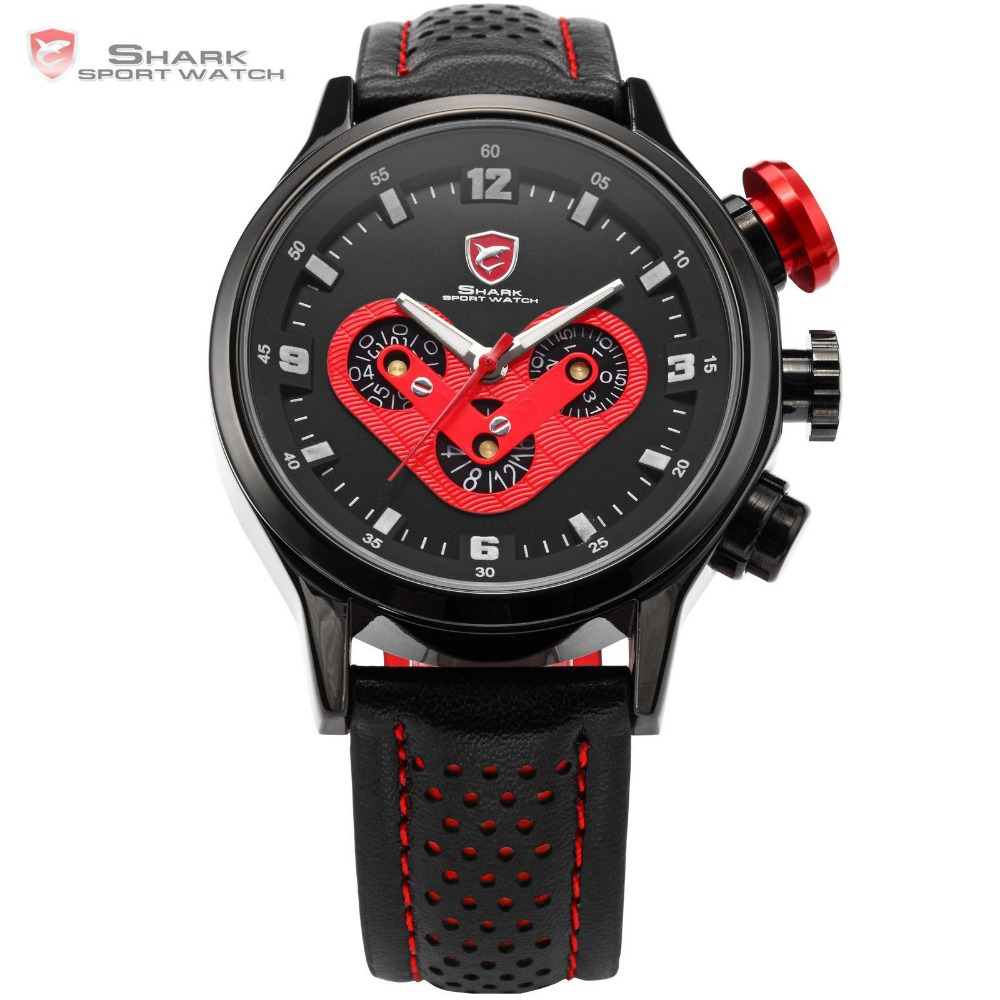 SHARK Sport Watch Men Date Day Stainless Steel Case Racing Black Leather Band Red 6 Hands Quartz Gift Clock Montre homme / SH090 все цены