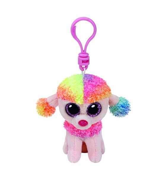 cda8a351538 Ty Beanie Boos 10cm Rainbow the Poodle Dog Keychain clip Plush Stuffed  Animal Collectible Soft Big Eyes Doll Toy