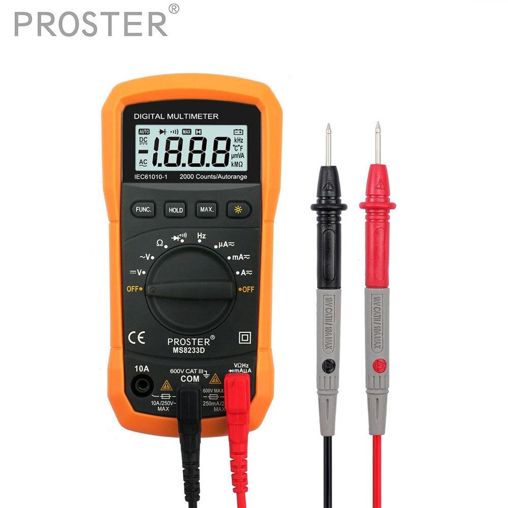 Teste Proster Auto Ranging Multímetro Digital de 2000 Contagens Display LCD 3 Multimetro DC AC Voltímetro Freqüência de 1/2 Dígitos calculadora de Bolso