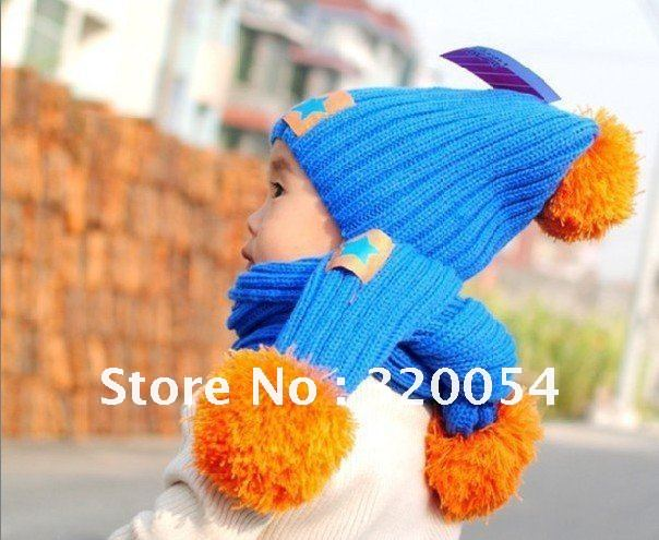 2013 New Korean Fashion Star Labeling Children Cap + Scarf,Baby Winter Warm Hat Scarf ,four-color,free Shipping