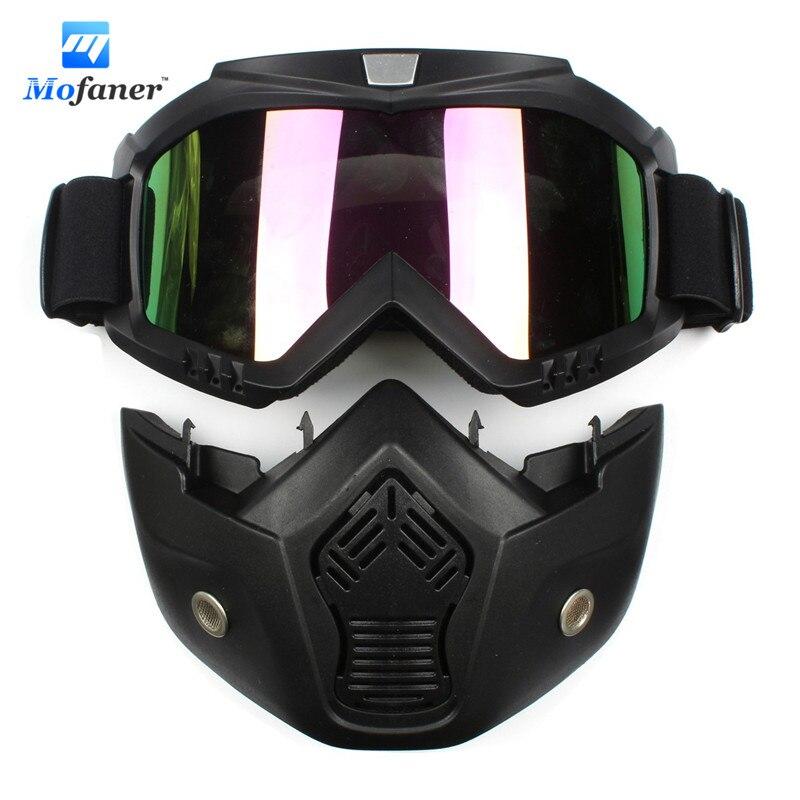 Mofaner Colorful Lens Motorcycle Bike Detachable Modular <font><b>Helmet</b></font> <font><b>Face</b></font> Mask Shield Goggles