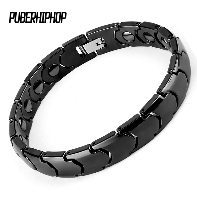 New Black Ceramic Men Bracelet Healing Magnetic Fashion Erkek Bileklik Stainless Steel