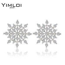 2016 New Ladies Crystal Snow Flake Bijoux Statement Stud Earrings For Women Earring Fashion Jewelry Free