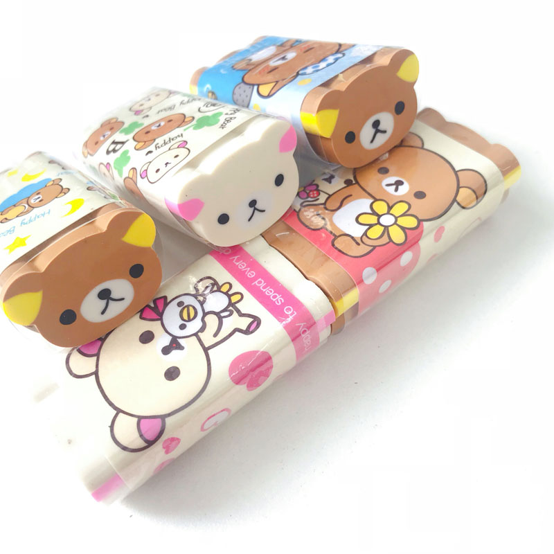 1PC Happy Brown Bear Eraser Rubber Erasers Correction School Office Supply Student Stationery Kid Gift