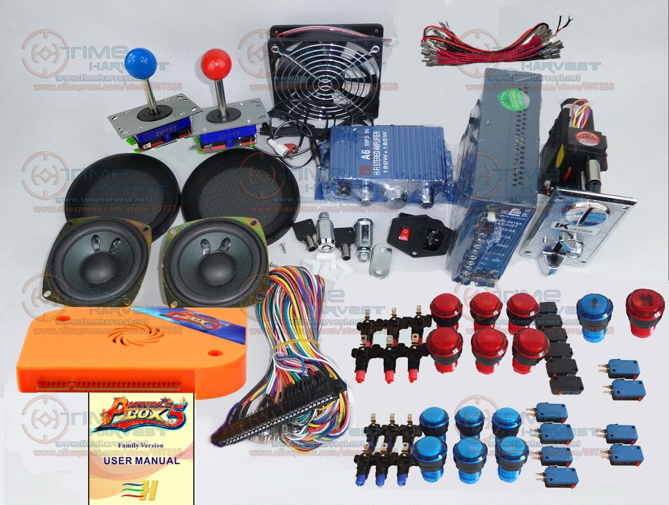 Arcade parts Bundles kit With Pandora Box 5 upgrade version VGA & HDMI output Joystick LED Buttons for Arcade Cabinet Machine pandora box 4s 2 player arcade console for home 815 in 1 family game consoler with 5 pin 8 way joystick lock button hdmi vga out