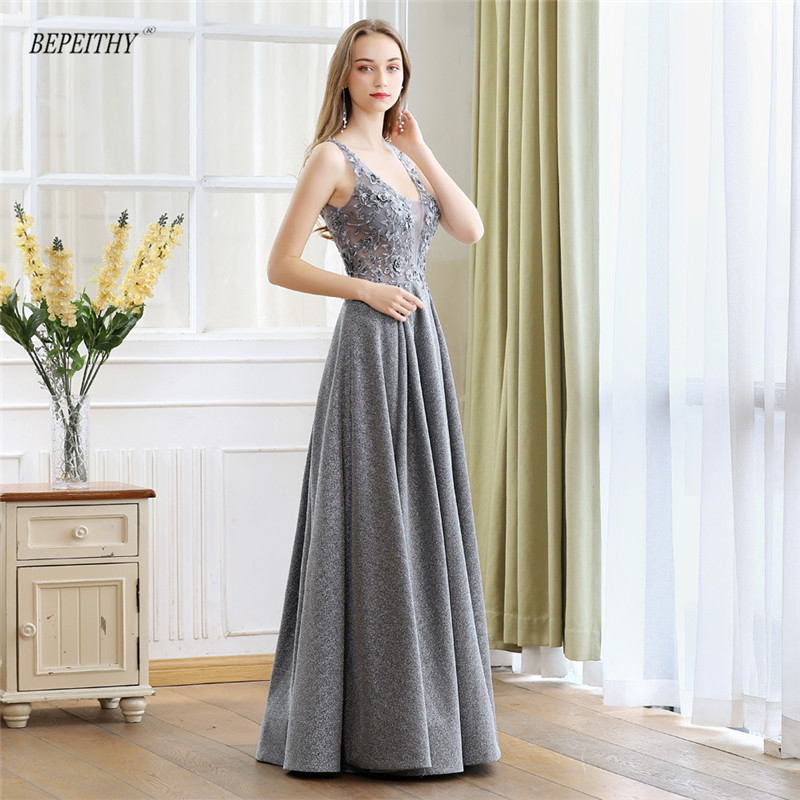 BEPEITHY 2019 New Arrival Lace Top Long Evening Dress Party Elegant Sexy Open Back Sliver Prom