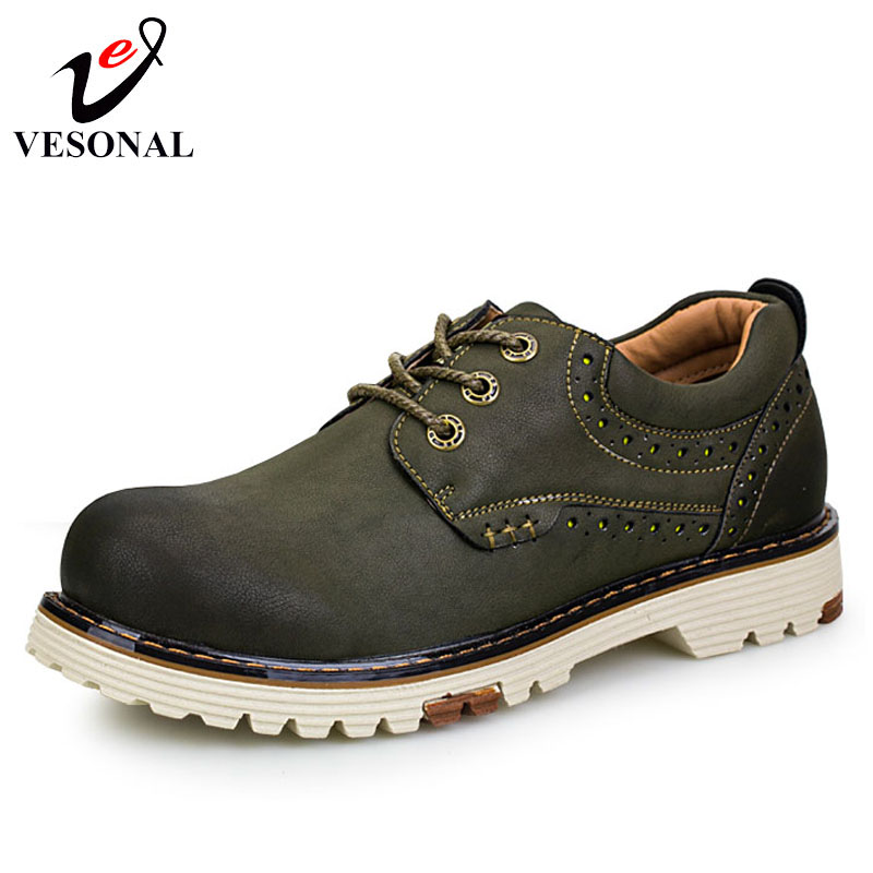 VESONAL Brand Genuine Leather Work Safety Casual Designer Male Shoes For Men Adult Comfortable Walking Men Footwear Quality 8096
