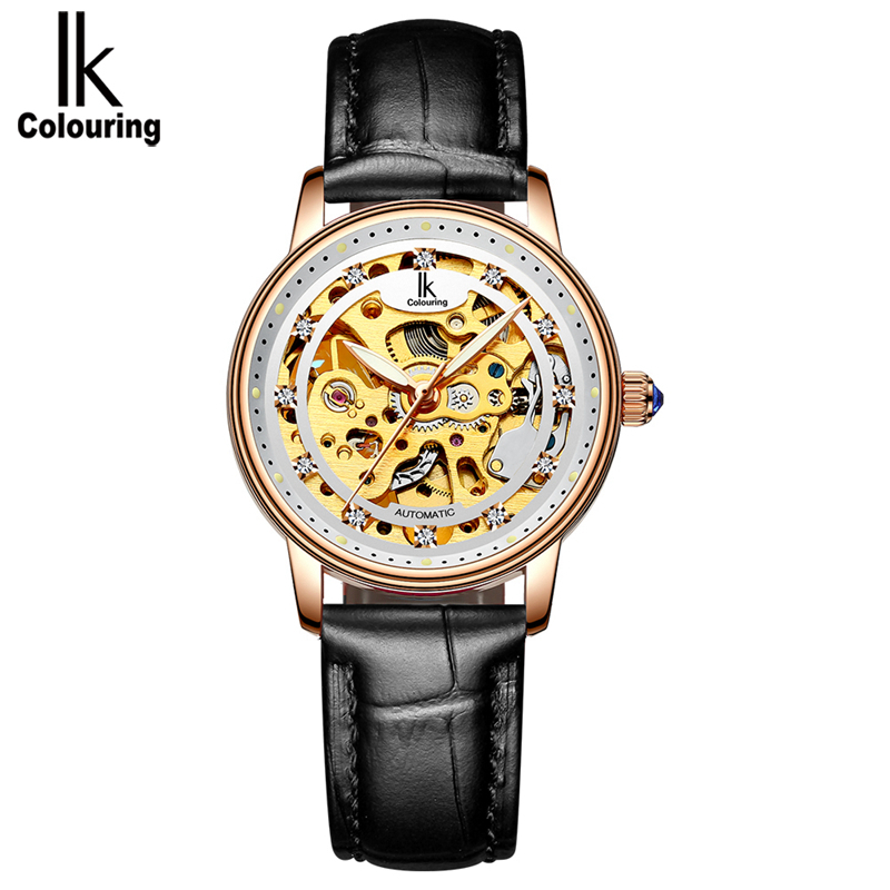 IK colouring Women Automatic Self-Wind Mechanical Watches Fashion Casual Ladies Genuine Leather Steel Strap Skeleton Watch 4498 mce steampunk women s watch skeleton mechanical hand wind fashion casual leather strap ladies gifts watches roman number clock