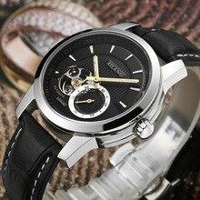 Мужские наручные часы с автоподзаводом, из натуральной кожи