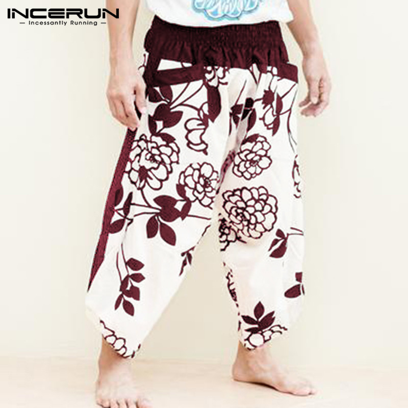INCERUN Fashion African Style 2020 New Wide-leg Leisure Pants Men's Stitching Flower Print Men Hiphop Casual Loose Trousers 5XL