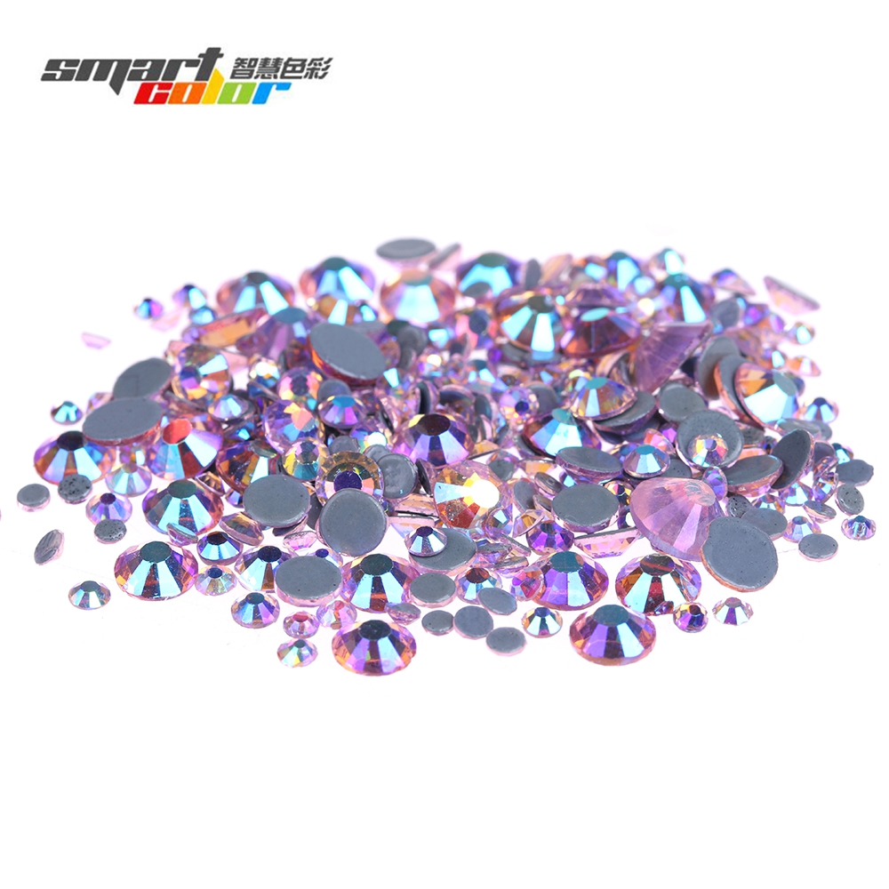Light Rose AB Glass Rhinestones With Glue Backing Flatback Iron On Hotfix Strass Diamonds For Clothes Shoes Accessories мозайка glass glue