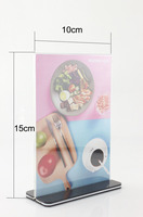 A6 Acrylic Desktop Card Display Sign Holder Menu Price Tag Display Stand For Store Hotel