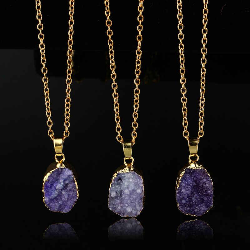 Irragular Tím Thô Đá Tự Nhiên Pendant Necklace Chain Drusy Quý Thực Sự Phụ Nữ Trang Sức Dây Chuyền