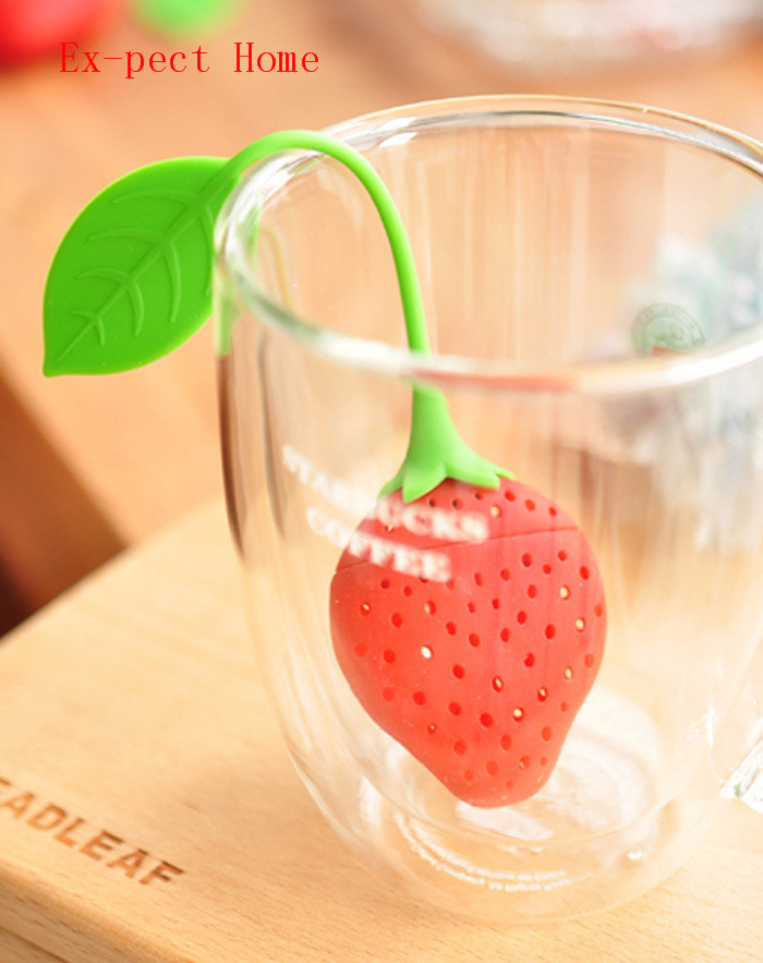100 pcs/lot Silicone Strawberry Design Loose Tea Leaf Strainer Herbal Spice Infuser Filter Tools New free shipping