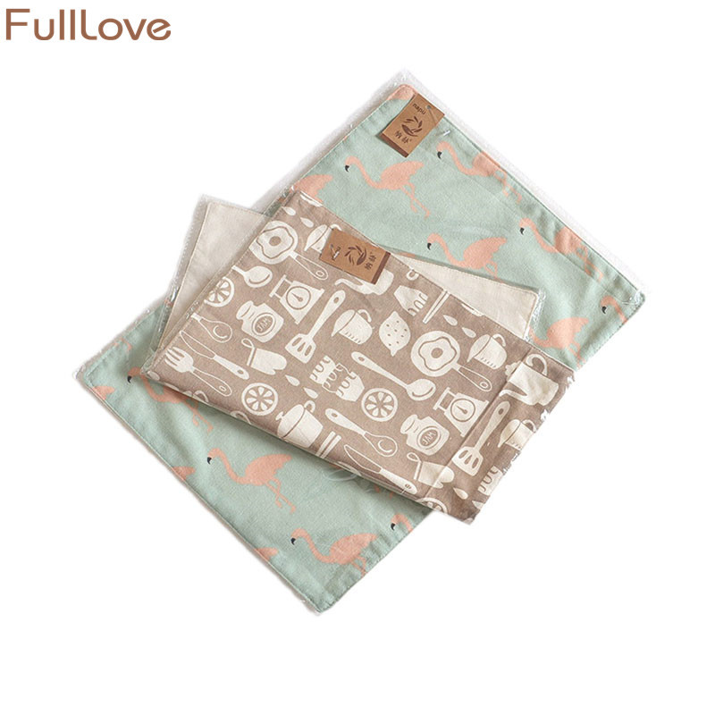 FullLove 40*30cm 2PCS/Set Cotton Kitchen Towels Flamingo Print Table Napkins Absorbent Dish Towels Cleaning Cloth Home Textile