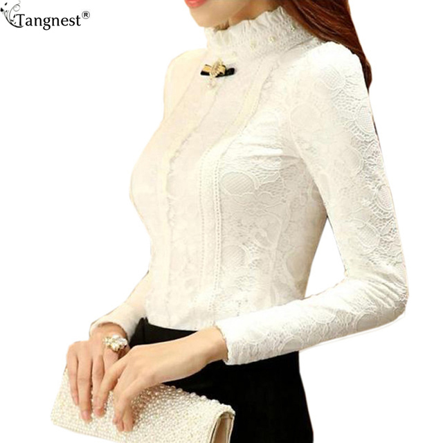 TANGNEST Lace Blouse 2017 New Plus Size Spring Women Blouse Lace Elegant Lace White Black Thick Warm Shirt Top Blusa WCL792