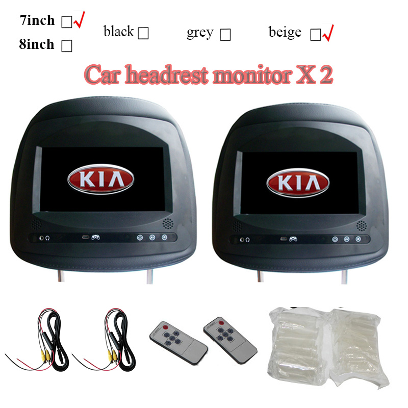 2pcs 7inch Car Headrest Monitor For Kia K2 K3 Sorento Cerato Forte Sportage With Touch Button Screen 800x480  Black Beige Grey