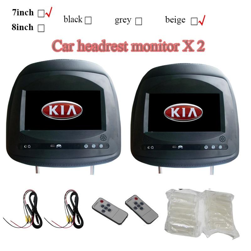 2pcs 7inch Car Headrest Monitor For Kia K2 K3 Sorento Cerato Forte Sportage With Touch Button Screen 800x480  Black Beige Grey