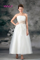 Beach Vestido De Noiva 2017 Wedding Dresses A Line Sweetheart Tea Length Tulle Appliques Beaded Wedding