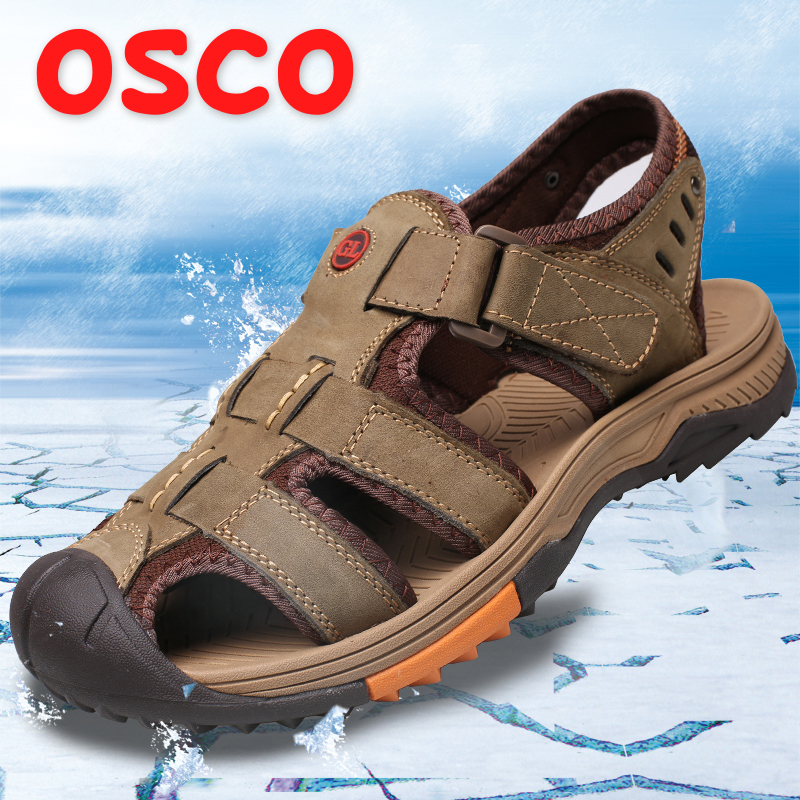 OSCO Men Sandals 2018 Summer New Genuine Leather Non slip Breathable Casual Men Shoes Fashion Outdoor