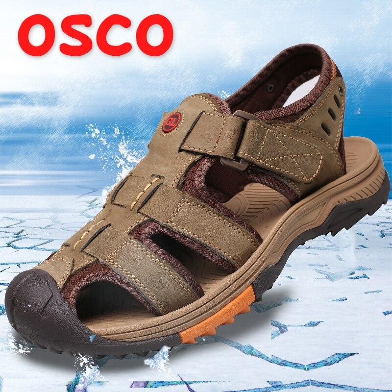 где купить OSCO Men Sandals 2018 Summer New Genuine Leather Non-slip Breathable Casual Men Shoes Fashion Outdoor Beach Sandals Slippers дешево