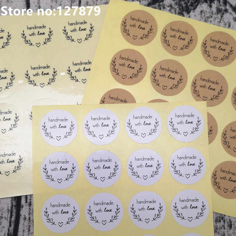"160pcs 2.5cm 1 inch ""Handmade with Love"" Stickers Seals Scrapbook DIY Craft Labels Round Scrapbooking Paper Labels Seal Sticker"