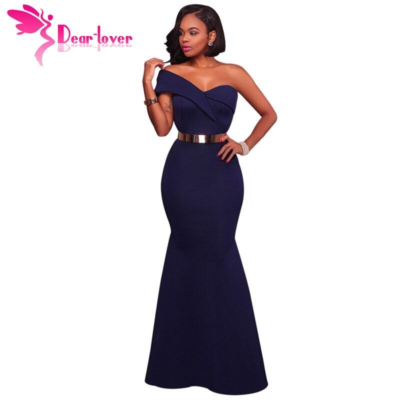 a9b4ede697b8 Dear Lover Lange Kleid Party Navy Blau Rot Sexy Eine Schulter Maxi Kleider  Robe de Soiree Longue 2018 vestido longo de festa LC61774