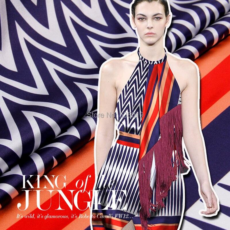 Géométrie bleu orange avancé petit épais soie élastique satin printemps et été soie impression tissu mûrier soie vêtements tissu