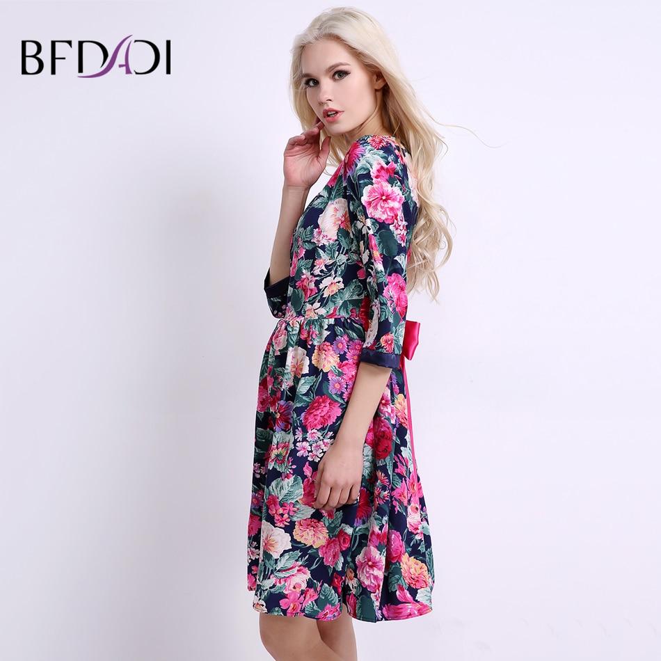 BFDADI 2019 Summer Women 꽃 Dress Sweet Casual 무릎 길이 A-line - 여성 의류 - 사진 3