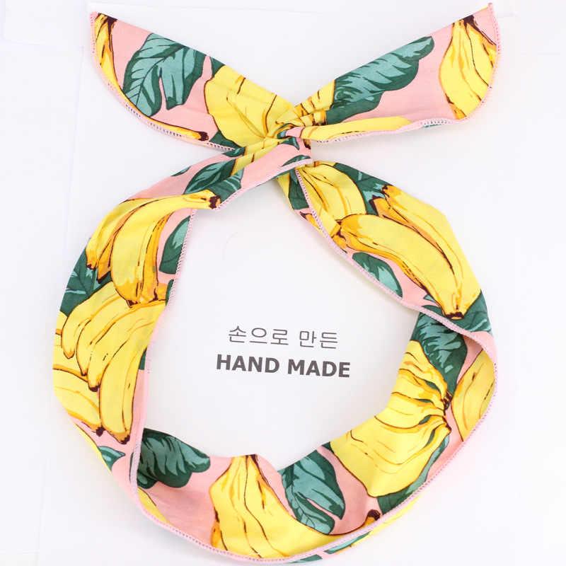 แฟชั่นสไตล์ฤดูร้อนพิมพ์กล้วย Headbands สำหรับยืดผม Bows HEAD Wrap Retro CROSS เครื่องประดับผม DIY อุปกรณ์เสริมผม