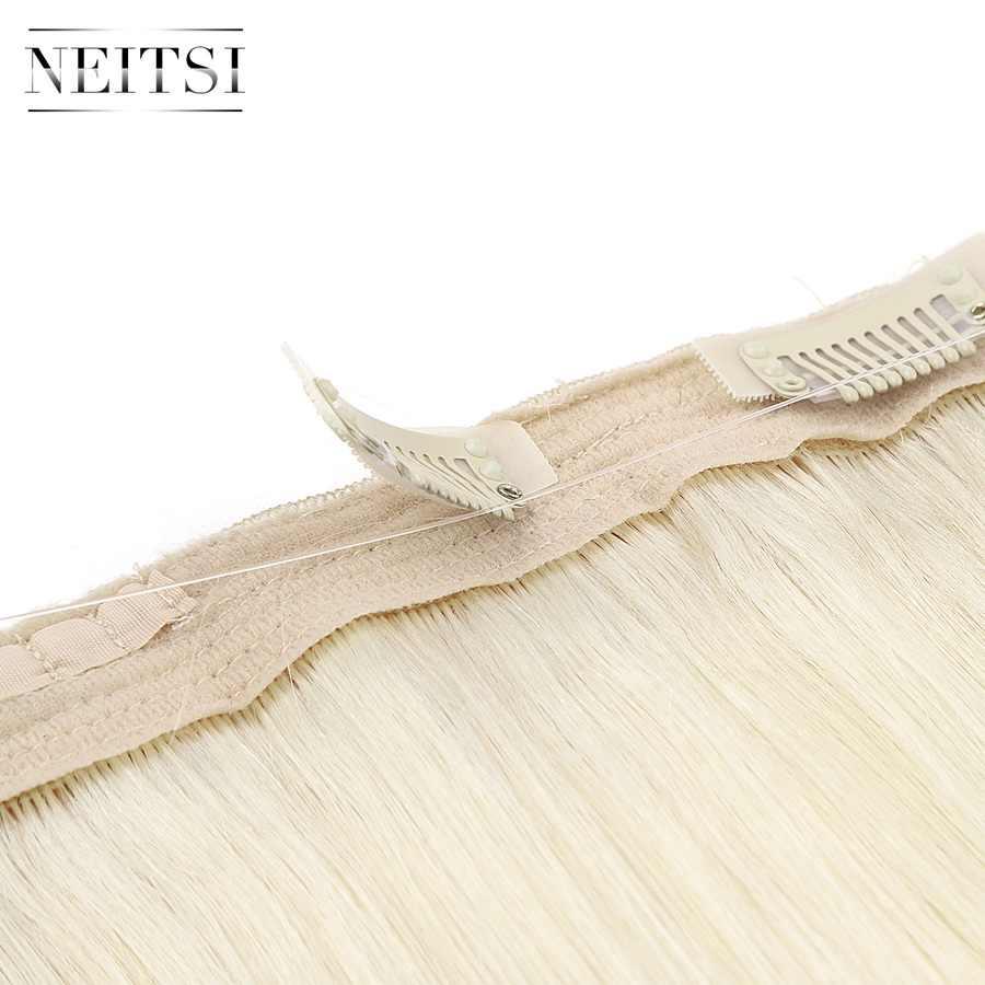 Neitsi ישר Halo שיער 20 ''100g רמי כפול נמשך שיער בלתי נראה חוט קליפ שיער טבעי הרחבות