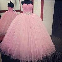 Cheap Pink Quinceanera Dress 2017 Sweetheart Beaded Tulle Ball Gowns Vestidos De 15 Anos Debutante Sweet