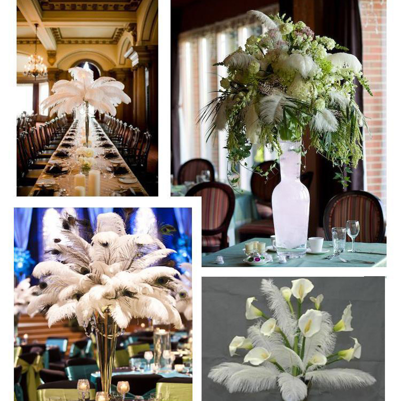 20Pcs Romantic Ostrich Feathers DIY accessories Window Wedding Table Home Party Natural Feathers Decoration Flower Arrangement