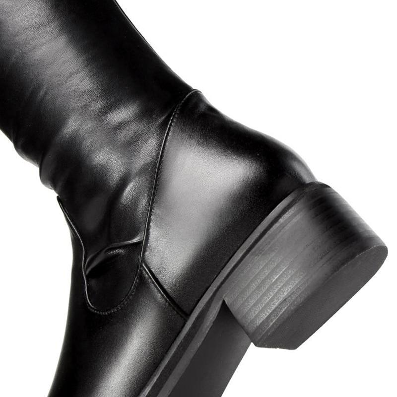 Le Coolcept Bottes Appartements Véritable Femme 34 De En 39 Fourrure Métal Sur Noir Boucle Taille Femmes Genou Chaussures Mode Cuir Sexy rrn0qfEO