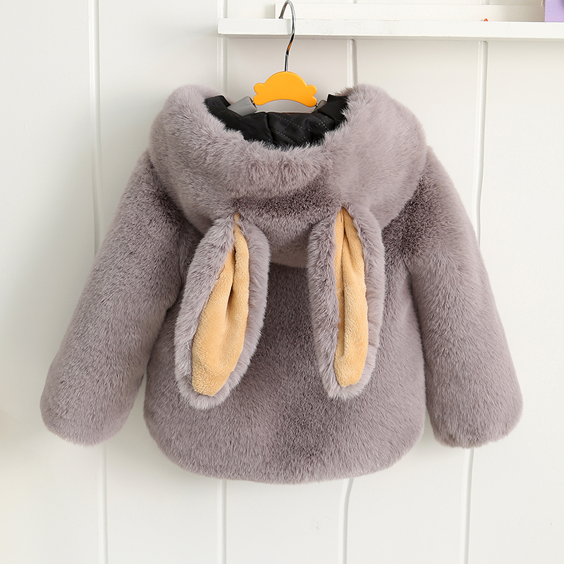 цены 2018 autumn winter baby fur coat children's thick warm coat cotton hooded faux fur jacket for boys girls cute rabbit ears coats
