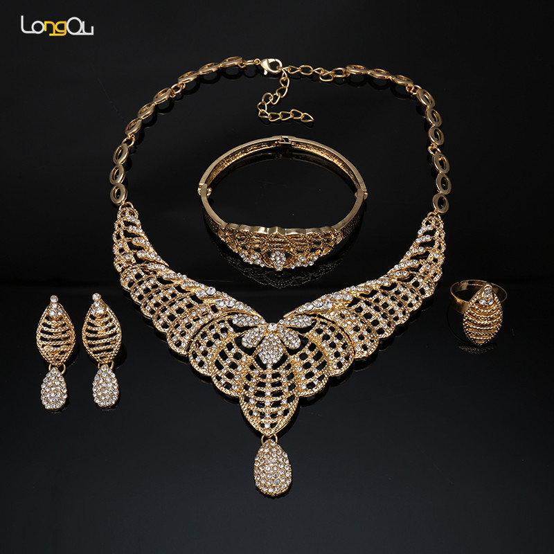 butterfly Jewelry Sets For Women African Beads Jewelry Set Wedding Imitation Crystal Bridal Dubai Necklace Jewelery Costume