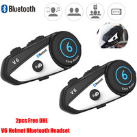 Free DHL Vimoto V6 Motorcycle Helmet Headset Bluetooth Stereo Headphone Multipoint l 2Way Radio Connection BT Interphone