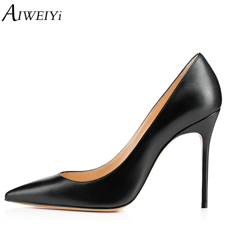AIWEIYi Women Pumps Patent Leather Stiletto High Heels Pointed toe Slip On Ladies Party Wedding Shoes 10CM Thin High Heels Shoes aiweiyi women high heel pump shoes 2018 pointed toe med heel high heels patent leather slip on platform pumps lady wedding shoes