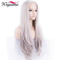 Ash Blond Mieszane Syntetyczna koronka Przodu Peruki dla Kobiet Glueless Naturalne proste Szary Peruka Młoda Dama Połowa Ręcznie Wiązanej Fałszywe Włosy Fajne