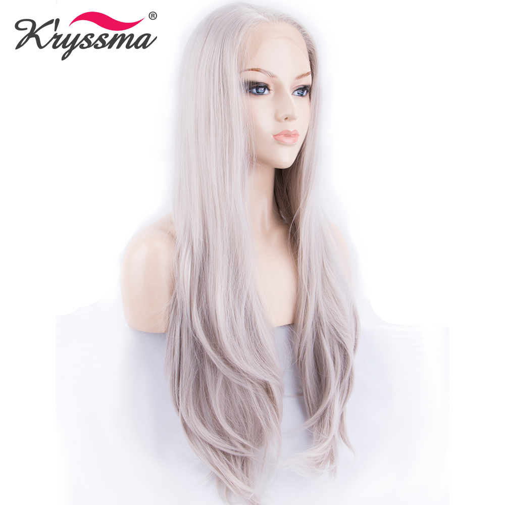 Ash Blonde Mixed Synthetic lace Front Wigs for Women Glueless Natural Straight Grey Wig  ...