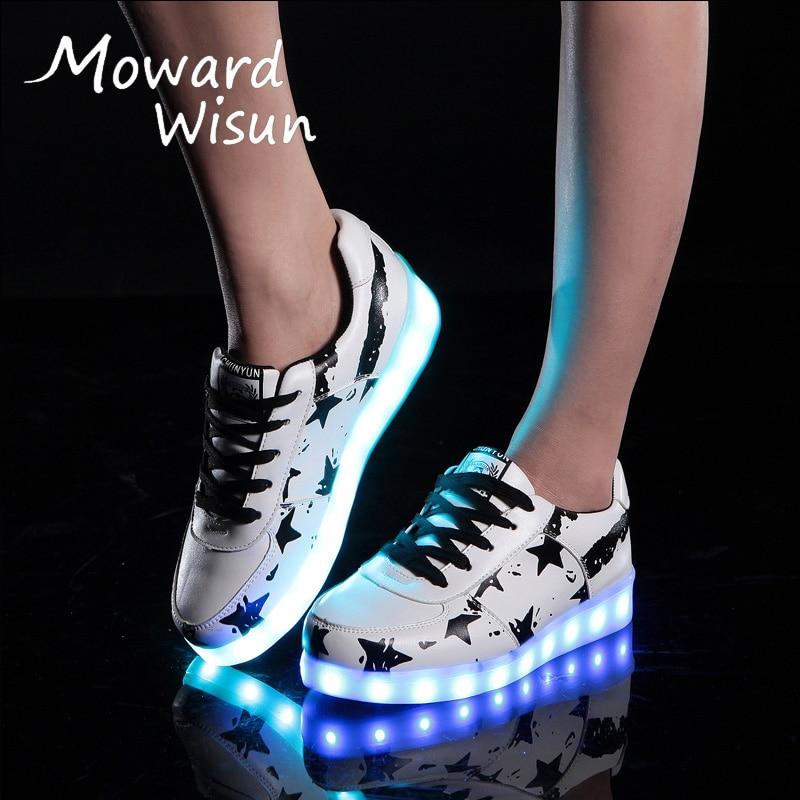 Modes lielie bērni vīriešu sievietes kvēlojošas čības kurpes ar gaismojošām spīdīgām čības biksēm Led čības Tenis LED Feminino 30
