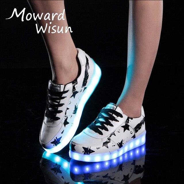 ee092eaae Moda niños grandes para hombre mujer brillante zapatillas de deporte con  luz luminosa zapatillas de deporte