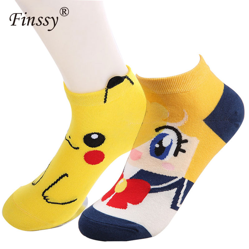 Cartoon Sailor Moon Socks Pokemon Pikachu Short Socks for Women Kawaii