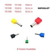 50 шт. двойная проводка трубки наконечник изолированные обжимные клеммы TE0508~ TE10-14 электрическая двойная проводка терминалы соединительный кабель 22-8AWG