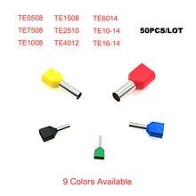50/20 pces dupla virola de tubo de fio isolado terminais de friso te0508 teTE16-14 fio duplo elétrico terminales conector cabo 22-8awg