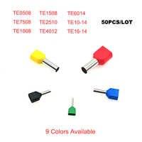 Pcs Dupla ponteira Tubo Fio isolado terminais de cravar TE0508 50 ~ TE10-14 dupla Elétrica fiação cabo conector 22-8AWG terminales