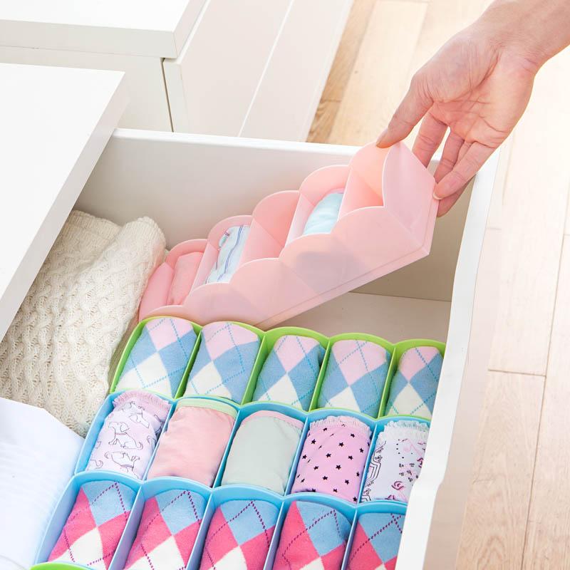 2016 Fashion 1 X 5 Cells Plastic Organizer Underwear Storage Box for Tie Bra Socks Drawer Cosmetic Divider Free Shipping
