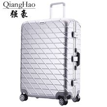 QiangHao brand Aluminum frame&drawbars&PC TSA Scratch resistant travel trolley case rolling luggage bags suitcase with wheels