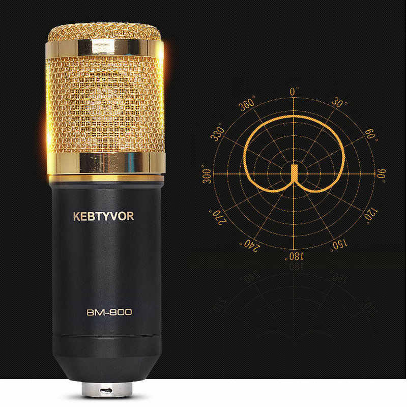 Professional BM800 Condenser Microphone Cardioid Audio Studio Vocal Record Mic with Metal Shock Mount for PC KTV Studio Room